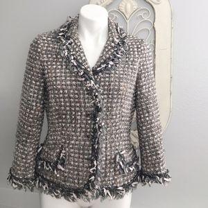 Teri Jon   Tweed Fringe Jacket 10